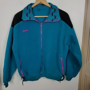 Vintage Columbia XL turquoise zip fleece jacket